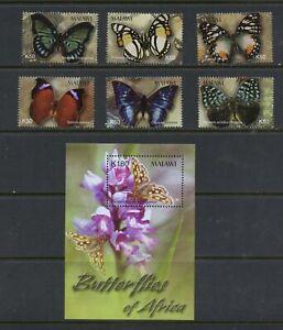 D463  Malawi  2003  butterflies  flora orchids   set & sheet     MNH