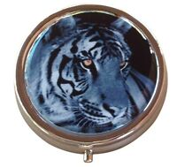Black and White Tiger Round Three Compartment Pocket/Purse/Travel Pill Box Case