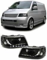VW T5 BLACK DRL DAYTIME RUNNING HEADLIGHTS HEADLAMPS 4/2003-9/2009