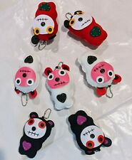 Emo Plush Toy KeyChain Pals - Monster Bear Lot of 7 Red, Black and White Stuffed