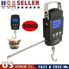 Fish Scale Portable Scale LCD Digital Weight 110lb/50kg with Measuring Tape USA
