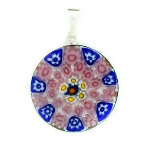 Murano Glass Pendant Blue Pink White Millefiori Sterling Silver Circular 26mm