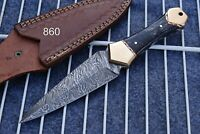 Custom HAND FORGED DAMASCUS STEEL Hunting Dagger Boot Knife +sheath