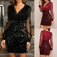 Fashion Women V-Neck Dresses Mesh Sleeve Sequined Patchwork Elegant Party Dress