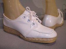5 Nos Vtg 1970s Uniform Nurse Shoe Espadrille Wedge Platform Heel White Oxfords
