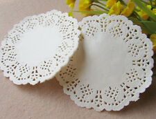 100 Pcs 4.5 Inch White Round Hollow Lace Paper Pad Cakes Biscuits Pad Of Paper