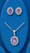Plata Esterlina Amatista Y Diamante Oval Racimo Set Colgante & Pendientes