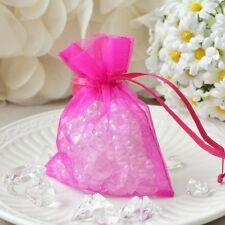 """10 Hot Pink Organza Favor Pouches 3""""x4"""" Wedding Baby Shower Party Gift Bags USA"""