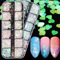 12 Grids 3D Glitter Mermaid Sequins Paillette Manicure Nail Art Tips Decor S