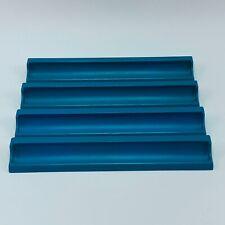 Scrabble Game Blue Plastic Tile Holders Racks Replacement Vintage - Set of 4