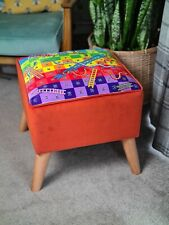 NEW EXCLUSIVE ONE OFF DESIGN FOOTSTOOL HANDMADE QUIRKY VELVET JJB UPHOLSTERY