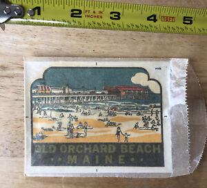 Vintage Souvenir Travel Decal Sticker W/Original Sleeve Old Orchard Maine Beach