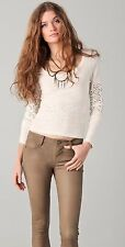Free People Eyelet Lace Neon Lights Girlie Greaser Crop Top in Cream L