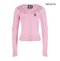Hell Bunny Ladies Gothic Cardigan Top SPIDER WEB Dusty Pink All Sizes