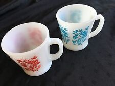 RARE Fire King Mugs D Handle - Lot Of 2 Floral Vintage Oven USA Mid Century