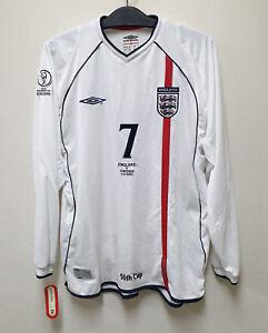2002 ENGLAND Home L/S No.7 BECKHAM 2002 WorldCup Sweden match 50th cap shirt