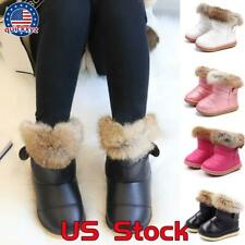 Kids Girls Toddler Winter Snow Warm Boots Ankle Fur Lined Bootie Anti-Slip Shoes