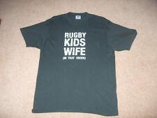 Men's short sleeve novelty rugby slogan  t-shirt dark green XL - 2XL