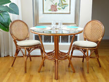 3 Pc Denver Rattan Dining Set Round Table Glass Top+2 Side Chairs.Colonial