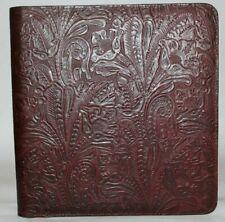 Lg Business Zipper Portfolio Amp Check Binder Burgundy Western Floral Leather