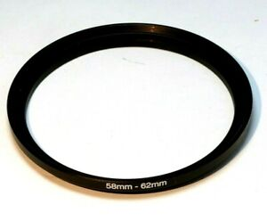 58mm to 62mm lens ring step up adapter threaded thin profile