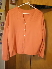 Large Women's Peach Colored Long Sleeve Button Front Sweater