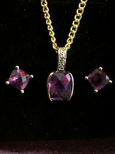 9ct Yellow Gold Amethyst and Dimond Pendant and 9ct Gold Amethyst Earrings