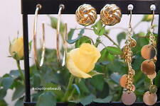 Lot of 3 Assorted Hoop Knot Round Charm Dangle Bright Yellow Gold Earrings