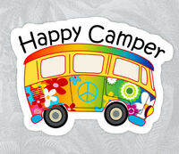 """HAPPY CAMPER BUS Vinyl Sticker Bear Mountain Hiking Camping Camp Decal 4"""" X 2.75"""