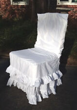 Chair Slipcover French Country Ruffled Shabby Soft 100% Cotton Muslin White NEW