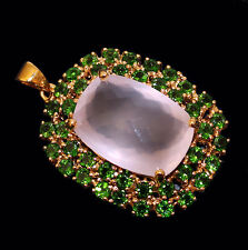 Large pendant with rose quartz and Chrome Diopside Yellow gold from 925 Silver