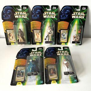 1990's Hasbro Star Wars Figures X5 Flashback Leia Obi Yoda Emperor Luke SEALED