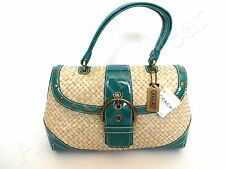 New Authentic Coach Soho Straw Woven Top Handle Leather Trim w/ Brass Bag Purse