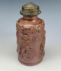 Antique Stoneware Salt Glazed Figural & Grapevine Pewter Mounted Tobacco Jar TIA