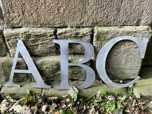 """Vintage Industrial Silver Metal  Large 12"""" Alphabet Letters - A to Z"""