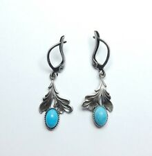 Vintage Sterling Silver 925 Turquoise Floral Drop Dangle Earrings 3.4g