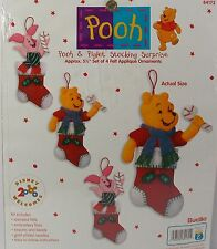 "Bucilla #84172 Felt Christmas Ornaments Pooh & Piglet Stocking Surprise 5 1/2"""