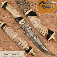 BEAUTIFUL CUSTOM HAND MADE DAMASCUS STEEL HUNTING BOWIE KNIFE HANDLE CAMEL BONE