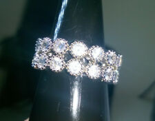 CREATED WHITE ROUND CUT SAPPHIRE RING BAND SIZE S. SILVER FILLED