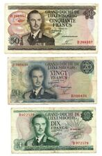 LUXEMBOURG SET: 10 20 50 Francs (1966-1972) P-53 54 55 Fine-VF Banknotes
