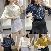 Women Bell Sleeve Chiffon Blouse Summer Print T-Shirt V-Neckline Top Plus Size