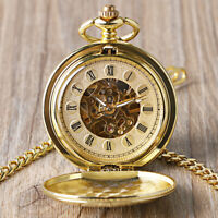 MENS POCKET WATCH MECHANICAL GOLD CASE DOUBLE HUNTER HAND - WINDING CHAIN LUXURY