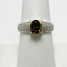 Modern Genuine Andalusite Diamond 14k Two Tone Gold Ring (6459)