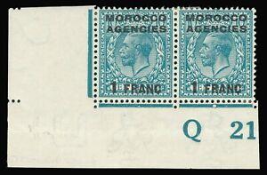 Morocco Agencies 1917 KGV 1f on 10d Control Q21 pair fine mint. SG 199. Sc 409.