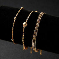Stainless Steel Gold Crystal Chain Bracelet Women Charm Cuff Bangle Jewellry
