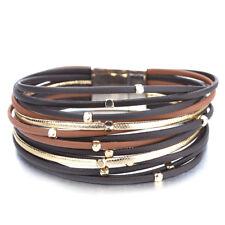 New Trendy Women Bohemian Multi-layer Leather Bangle Charm Cuff Bracelet Jewelry