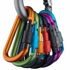 UK Aluminum Carabiner D-Ring Key Chain Clip Snap Hook Screw Lock Outdoor Camping