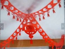 2 CHINESE 3M RED FORTUNE FABRIC PARTY BUNTING GARLAND WEDDING BIRTHDAY NEW YEAR