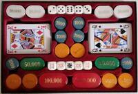 CONTENITORE  200 gettoni madreperlati (5 colori) + 10 dadi + 2 cf.carte da gioco