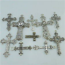10PCS Mixed Antique Silver Tone Faith Religious Large Cross Pendant